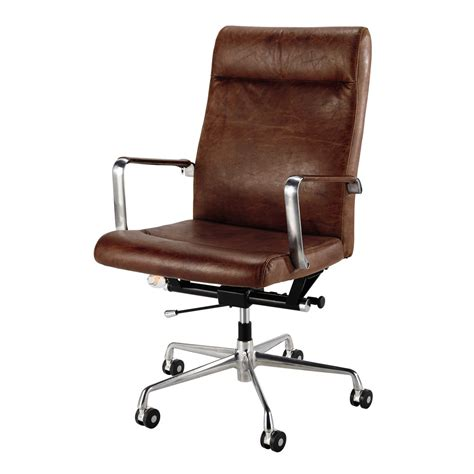 brown leather and metal office chair on wheels