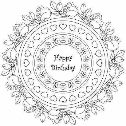 Happy Birthday Coloring Mandala Adult Therapy Coloriage
