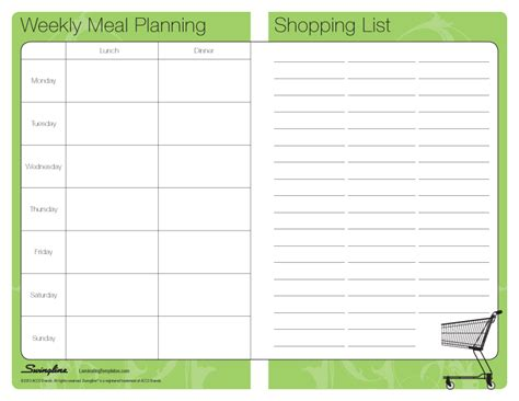 monthly meal planner template with grocery list meal planner template cyberuse
