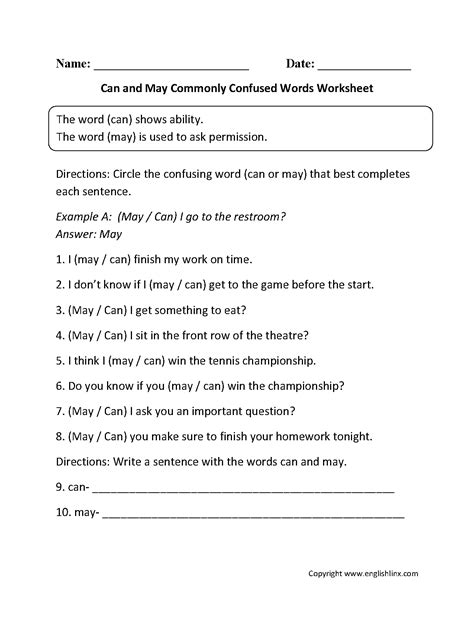 Commonly Confused Words Worksheets  Can And May Commonly Confused Words Worksheets