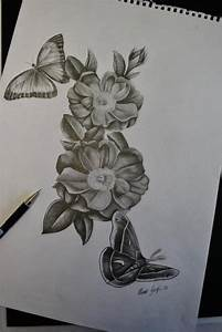 Flowers butterfly and moth sketch for a tattoo by Ronny ...