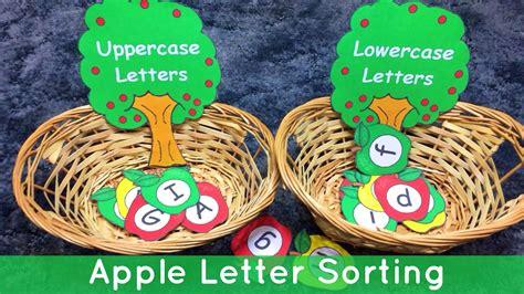 apple uppercase  lowercase letter sorting preschool