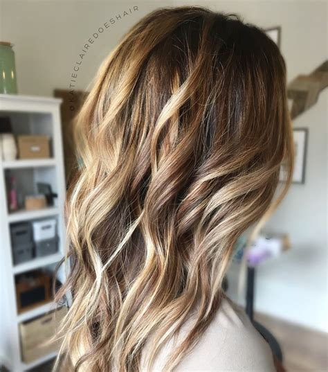 warm balayage golden blonde brown hair bronde
