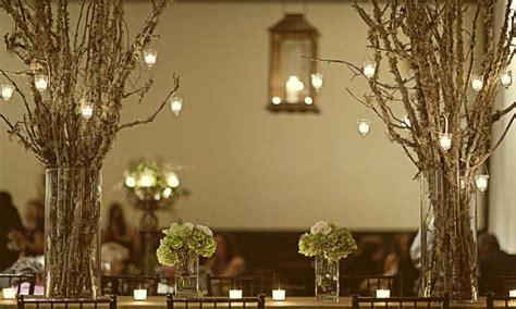 led hanging lantern lights rustic tree branch wedding