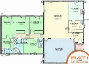 maison plain pied 5 chambres With plan de maison plain pied 5 chambres