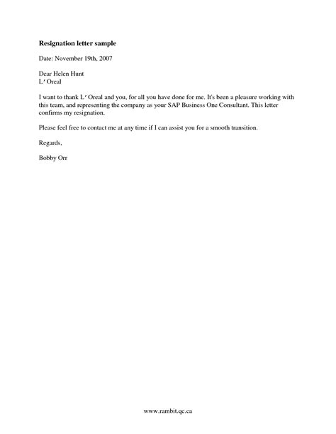 sample  good resignation letter samplebusinessresume