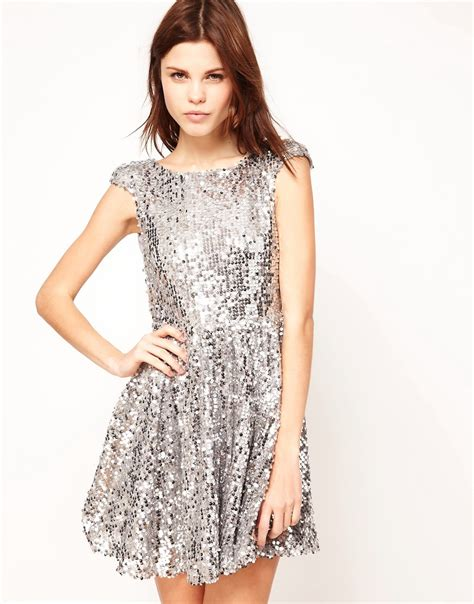 silver sequin l shade silver sequin skater dress www imgkid com the image