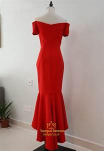 Red Off Shoulder Short Sleeve Drop Waist High Low Mermaid ...