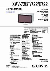 Sony Xav-722  Xav-72bt  Xav-e722 Service Manual