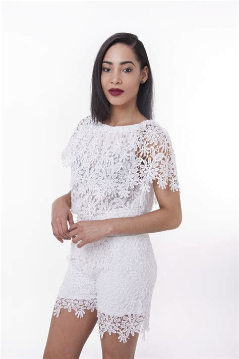 Stylish Two Piece Lace Short Top Set Outfits