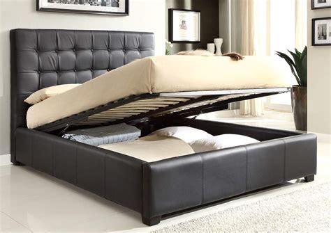 stylish leather high  platform bed  extra storage