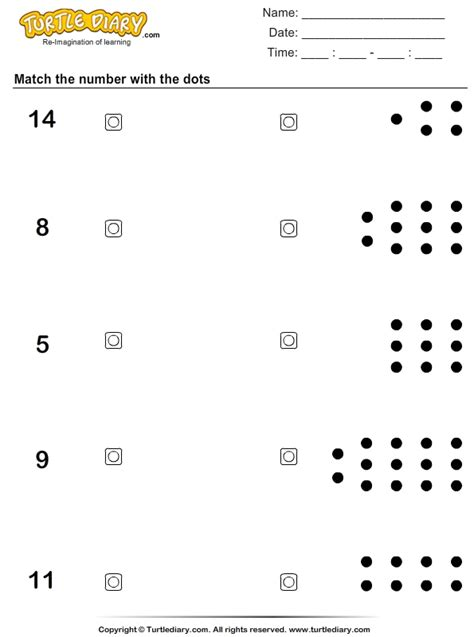 count  dots  match worksheet turtle diary
