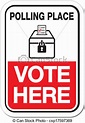 Clip Art Vector of polling place vote here - suitable for ...