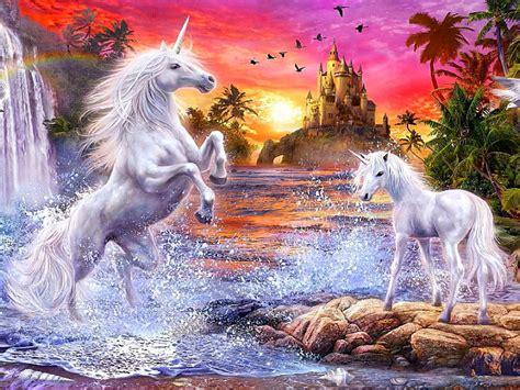 fantasy unicorns castle sunset river falls palm flowers