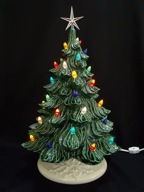 classic ceramic christmas tree 19 inches lights by