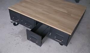Table Basse Industrielle Avec Tiroir : table basse industrielle anciens tiroirs m tal et bois ~ Teatrodelosmanantiales.com Idées de Décoration