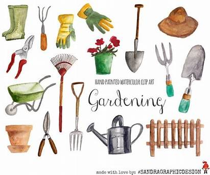 Gardening Garden Clipart Watercolor Clip Hand Tool
