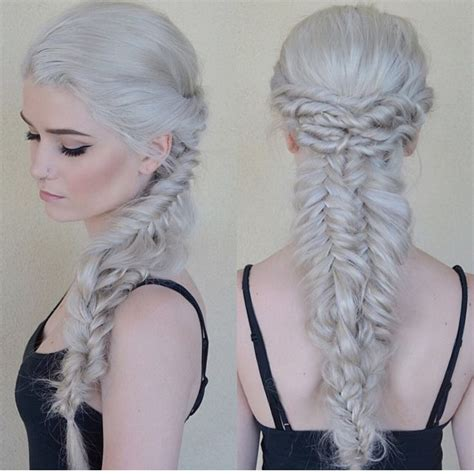 And White Hair by Silver White Hair With Intricate Braids By
