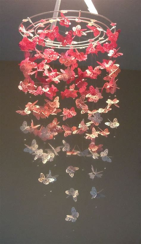 pretty in pink monarch butterfly chandelier mobile