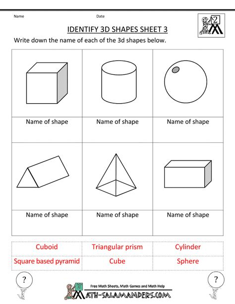 kindergarten 3 dimensional shapes shapes worksheets