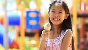 Happy Asian Child Enjoy Eating Icecream Stock Footage ...