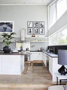 couleur grise et blanc pour cuisine ouverte sur salon With parquet cuisine ouverte