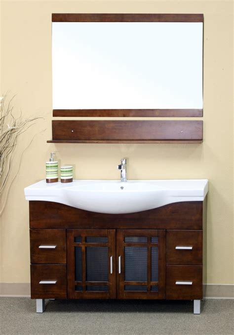 walnut single sink bathroom vanity  drawers