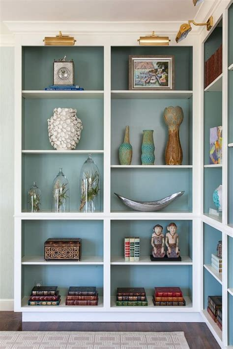 how to paint back of bookcase creative bookshelf styling and layering tricks