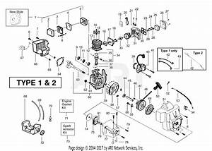 Poulan Bc2400 Gas Trimmer Type 1 Parts Diagram For Engine