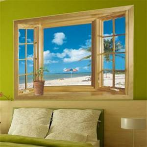 super 3d beach wood window view wall sticker home decor With faux window wall decal for home