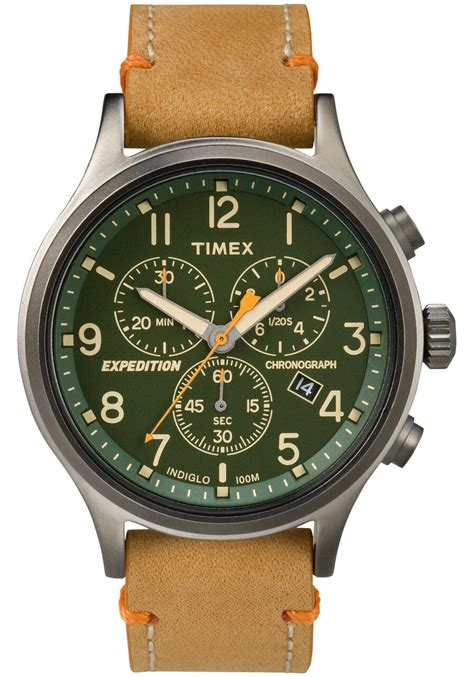 timex expedition scout chrono green tan watchescom