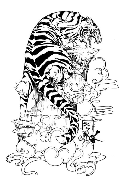 Flowers And Tiger Tattoo Design. maybe have him climbing up my thigh?   Awesome Tattoos and