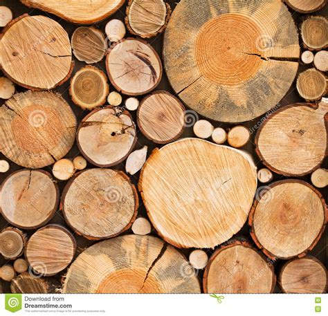 Wall Of Stacked Wood Logs As Background, Texture. Stock