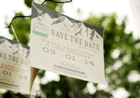 Ski Lift Pass Save The Dates Wedding Invitations
