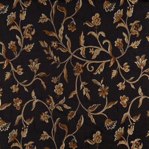 Brocade Upholstery Fabric by Midnight Blue And Gold Vintage Large Floral Vine Brocade