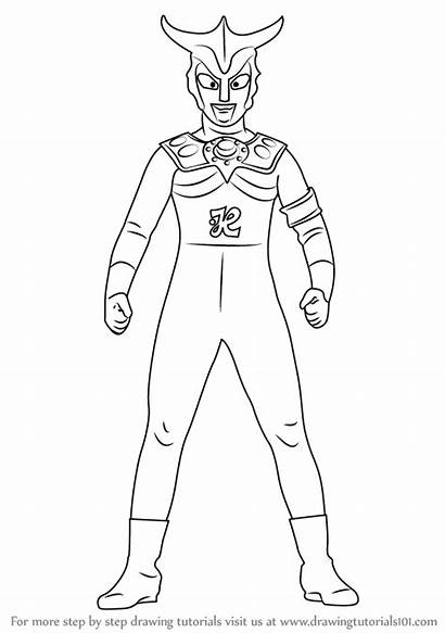 Ultraman Leo Draw Drawing Step Coloring Pages