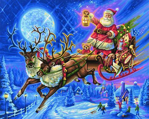 Schipper Der Weihnachtsmann Mit Rentierschlitten