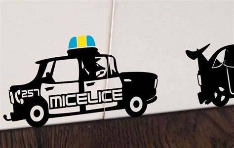 micelice mouse police car mouse hole funny wall decal