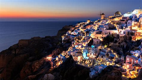 santorini  night hd wallpaper wallpaper studio