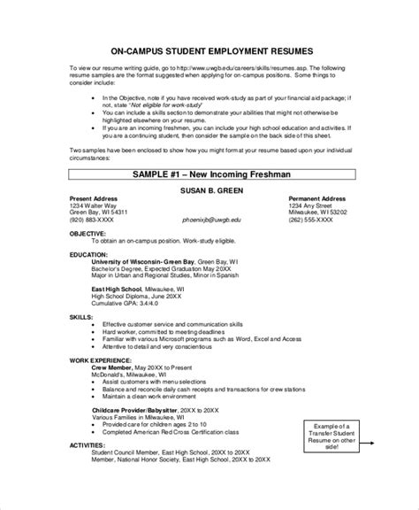 sample student resume  documents   word