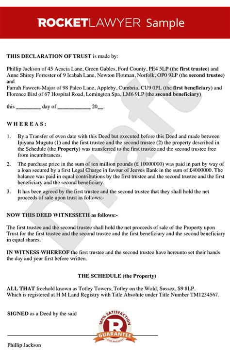 Trust Agreement Template Uk by Declaration Of Trust Tenants In Common Agreement Deed