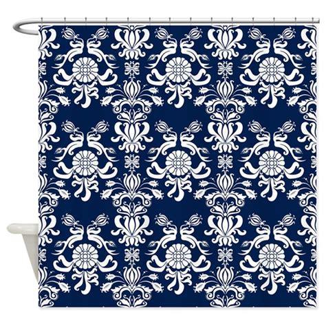 navy blue damask shower curtain by printedlittletreasures