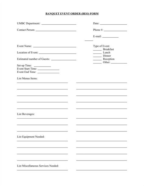 banquet event order template 9 event order form templates free premium templates