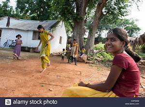 Indian girls playing games in a rural Indian village ...