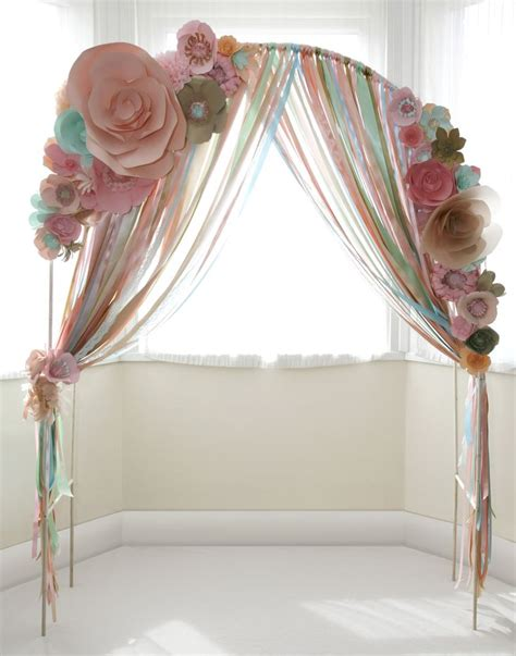 Paper Flower Wedding Ceremony Arch With Ribons