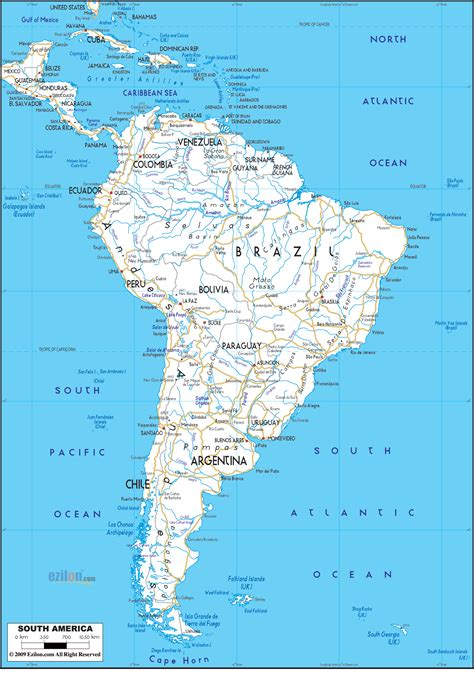 road map  south america ezilon maps