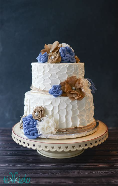 Rustic Burlap And Lace Flower Wedding Cake