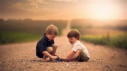 Children Playing Field Road Sunlight Child Play