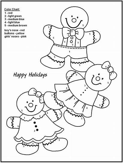Coloring Number Christmas Numbers Pages Printable Gingerbread