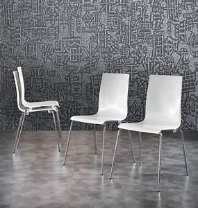 Chaise Design Contemporain : chaise de salle manger empilable design blanche patty ~ Nature-et-papiers.com Idées de Décoration